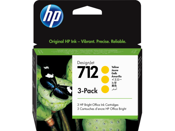 HP 712 Yellow DesignJet Ink Cartridge 3-Pack, 3ED79A
