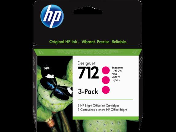 HP 712 Magenta DesignJet Ink Cartridge 3-Pack, 3ED78A