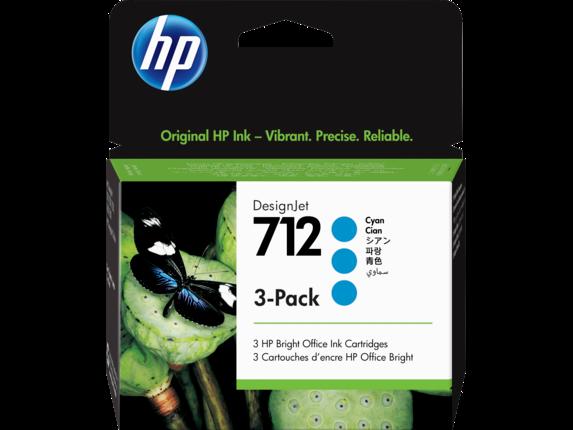 HP 712 Cyan DesignJet Ink Cartridge 3-Pack, 3ED77A